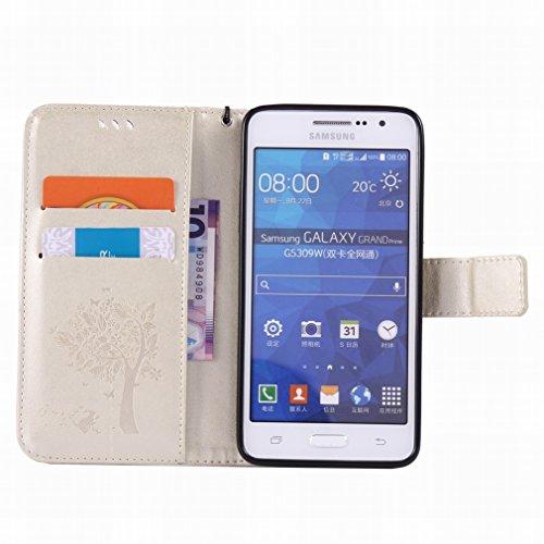 Custodia Samsung Galaxy Grand Prime G530 Cover Case, Ougger Alberi Gatto Printing Portafoglio PU Pelle Magnetico Stand Morbido Silicone Flip Bumper Protettivo Gomma Shell Borsa Custodie con Slot per S