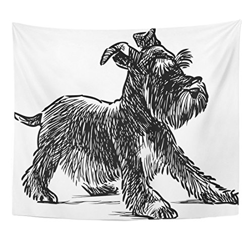 Emvency Tapestry Dog Schnauzer Puppy Drawing Silhouette Animal Beard Black Home Decor Wall Hanging for Living Room Bedroom Dorm 50x60 Inches