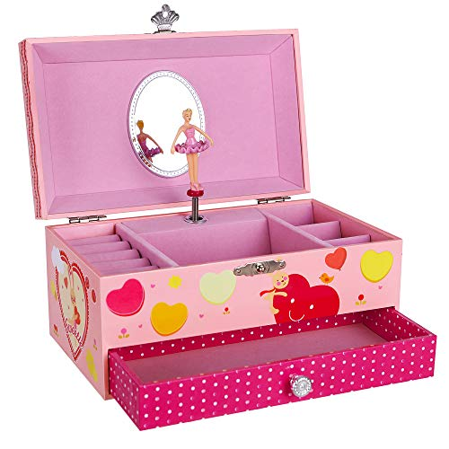 SONGMICS Little Girls Jewelry Box with Ballerina Musical Jewelry Storage Case with Cartoon Rabbit Pattern & Swan Lake Tune, Pink -