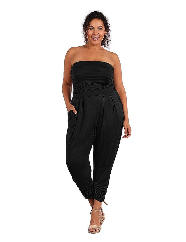 ae4e38e6381b Amazon.com  UU Fashion Women s Premium Plus Size Strapless Jumpsuit Romper  (1X-3X)  Clothing