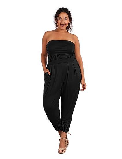 ebc8a477d229a UU Fashion Women's Plus Size Strapless Casual Jumpsuit Romper Pants