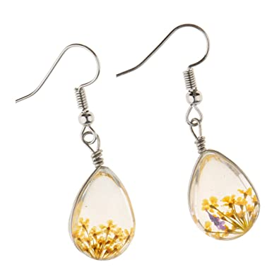 1b0c60e083d943 Buy HOMYL Handmade Real Botanical Dried Flower Earrings Transparent Resin  Teardrop - yellow Online at Low Prices in India | Amazon Jewellery Store -  Amazon. ...