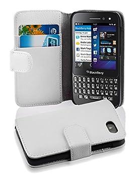 Cadorabo Blackberry Q5 Funda de Cuero Sintético ESTRUCTURA en BLANCO MAGNESIO Cubierta Protectora Estilo Libro con Cierre Magnético, Tarjetero y Función de ...