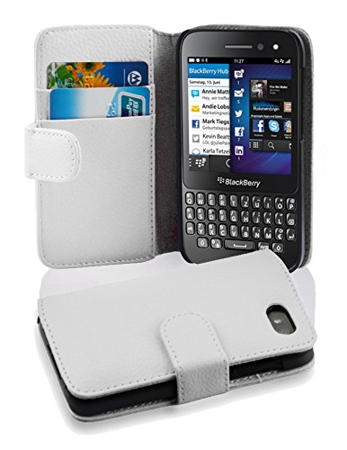 new styles 568d8 0864a Cadorabo Case works with Blackberry Q5 in SNOW WHITE (Design BOOK  STRUCTURE) – with 2 Card Slots – Wallet Case Etui Cover Pouch PU Leather  Flip