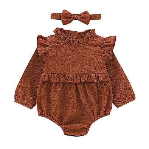 BabiBeauty Twins Baby Girls Romper Infant Girls Ruffles Onesies Jumpsuit Headband (Brown (Long), 90/12-18 Months)