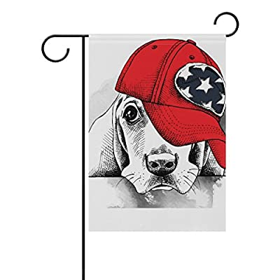 Decorative Flags for Outside Double Sided Welcome Garden Flag with Novelty Graphic Hat Christmas Cute Animal Dog for Yard Flags Outdoor Flags