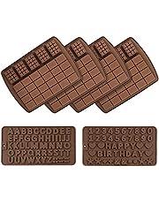 6-pack chokladkaka form med chokladbokstäver nummer formar för grattis på födelsedagen tårtdekoration, non-stick silikon alfabet bokstäver nummer formar godis choklad bakning form tårtdekoration