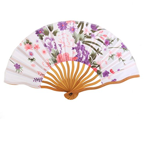 Flora Flowers Folding Fan Hand Fan with Curve Fan Ribs Fancy Fan