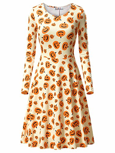 Halloween Costume Dress,KIRA Women's Cute Halloween Cartoon Printed Autumn Unique Dress 17049-5 (Cute Cartoon Costumes)