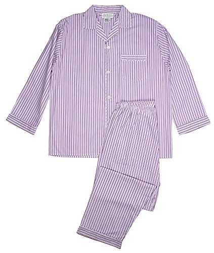 Men's Woven Sleepwear Long Sleeve Pajama Set Cotton Blend - Red Striped (Striped Woven Cotton Pajamas)