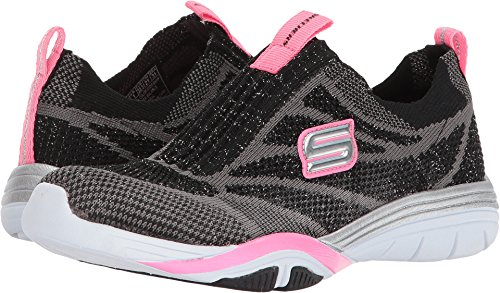 Skechers 82193L Girl's Stella - Sporty Sparkles Sneakers, Black/Hot Pink - 1.5
