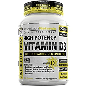 Vitamin D3 5000 IU - 360 Softgels in Cold Pressed Organic Coconut Oil, High Potency, Made in USA, Non GMO, Supports Bone Strength and Immune System Health, Natures Supplement Fast Dissolve