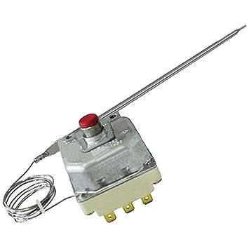Termostato limitador Spares2go con 3 polos, temperatura máxima de 225 °C, con botón