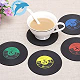 Drink Placemat - 4pcs Set Vinyl Drink Coaster Table Cup Mat Home Creative Decor Record Coffee Placemat Tableware Spinning - Hold Tabular Array Mesa