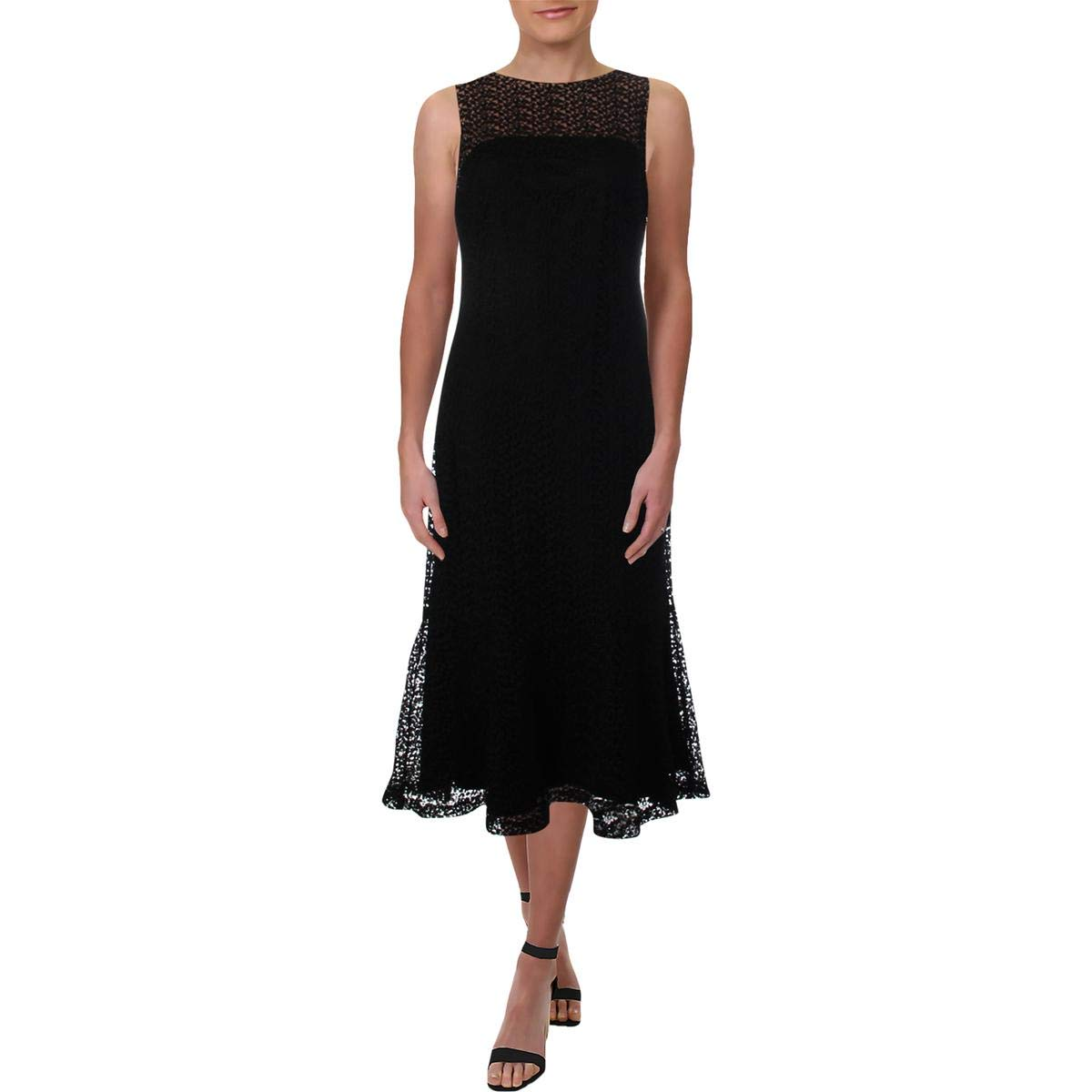 Black Wheat Lauren Ralph Lauren Womens LaceOverlay Midi Party Dress