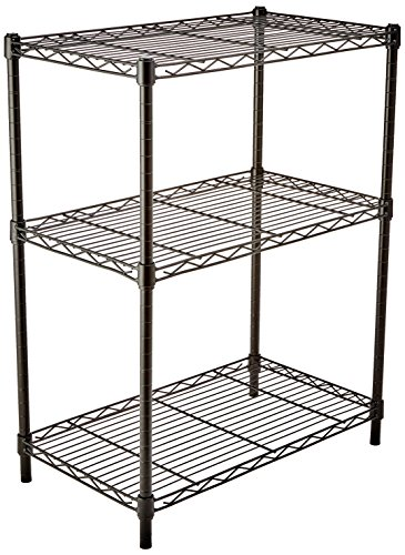(AmazonBasics 3-Shelf Shelving Storage Unit, Metal Organizer Wire Rack, Black)