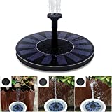 Feelle Solar Powered Bird Bath Fountain Pump 1.4W Solar Panel Water Floating Pump Kit with Different Spay Heads for Pond, Pool and Garden Decoration
