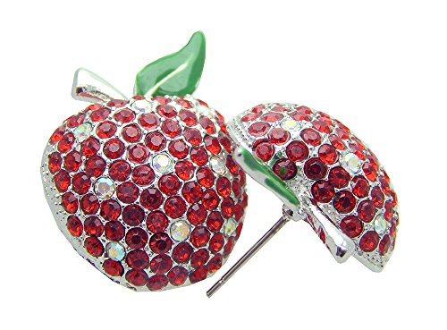 Apple Plated Silver Crystal Swarovski (Poonsuk@lucky Silver Plated Red Apple Shaped with Crystal Diamond Stud Earrings on Sale!!!!!!)