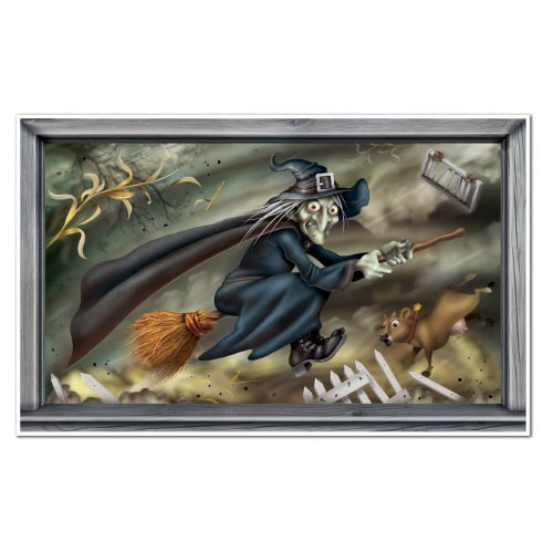 [Beistle Flying Witch Insta View, 3-Feet 4-Inch by 5-Feet 4-Inch] (Scary Halloween Witches)