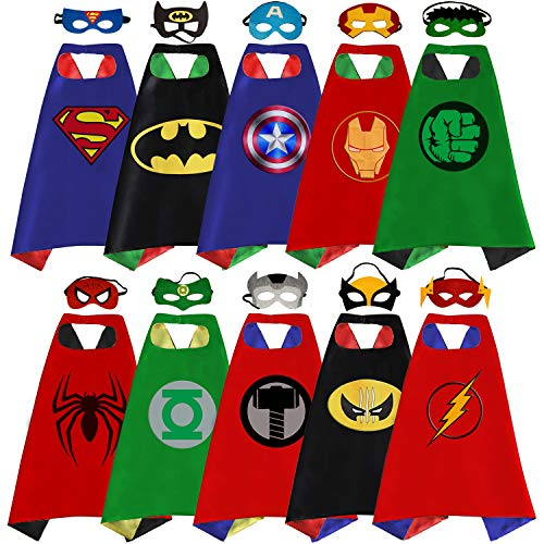 Superhero Capes, Masks, and Bracelets for Kids by McFlony - 5 Reversible Capes, 10 Felt Masks, and 5 Superheroes Bracelets ()