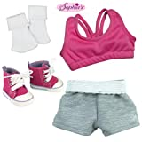 Doll Clothes Sports 4 Pc. Set Fit for American Girl Dolls - 18 Inch Doll Set Includes; Doll Athletic Top, Sports Shorts, Socks and Hot Pink Hi Top Doll Sneakers