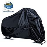 Motorcycle Cover,Joaruy Waterproof Motorcycle Cover All Weather Outdoor Protection,420D Oxford Durable & Tear Proof for 108 inch Motors Like Honda,Yamaha,Suzuki,Harley and More-Black