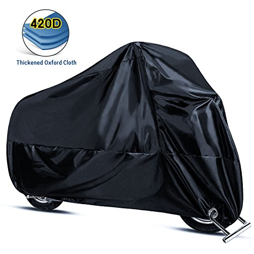 Motorcycle Cover,Joaruy Waterproof Motorcycle Cover All Weather Outdoor Protection,420D Oxford Durable & Tear Proof for 108 inch Motors Like Honda,Yamaha,Suzuki,Harley and More-Black by Joaruy