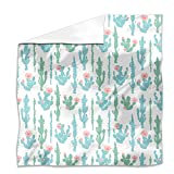 Blooming Cactus Flat Sheet: Queen Luxury Microfiber, Soft, Breathable