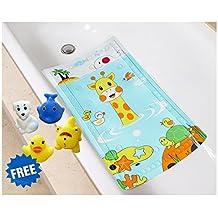Littlefun Baby Non-Slip Bath Mat with Heat Sensitive Spot PVC Bathroom Rugs for Shower(15.7x27.6in) (Giraffe/Whale/Tortoise Pattern)