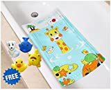 Littlefun Baby Non-Slip Bath Mat with Heat Sensitive Spot PVC Bathroom for Shower Bath Toys Included (Giraffe/Whale/Tortoise Pattern)
