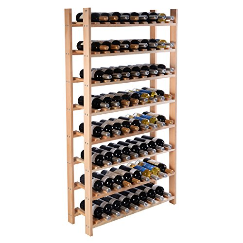(Giantex Wine Rack Bottle Display Shelves Wood Stackable Storage Stand Wobble-Free Wine Bottle Holder Organizer for Bar, Wine Cellar, Basement, Home Kitchen Free Standing Bottle Rack (120-Bottle))