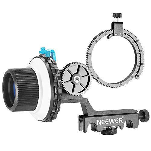 Neewer A-B Stop Follow Focus with Quick Release and Gear Ring Belt Mount for DSLR Cameras Camcorder,Fits Shoulder Supports,Stabilizers,Movie Rigs,All 15mm Rod Mounts