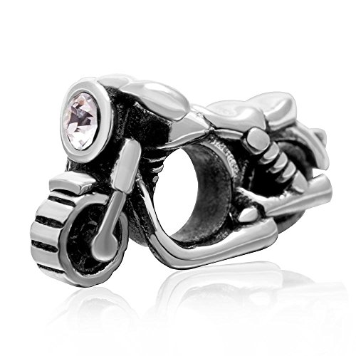 Motorcycle Charm - Authentic 925 Sterling Silver CZ Stone Beads - Fit DIY Charms