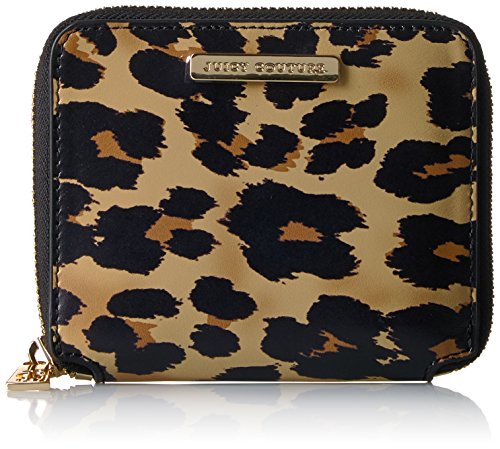 Juicy Couture Small Zip Around Wallet - Pitch Black/Leopa...