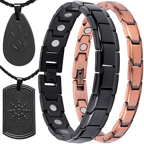 Bundle Copper Magnetic Bracelet + Black Magnetic Bracelet Therapy + Two EMF Protection Tourmaline Pendants for Arthritis Pain Relief, Carpal Tunnel, Reduce Stress & Anxiety, Magnetic Therapy
