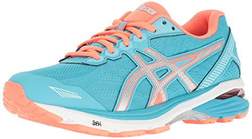 ASICS Women's GT-1000 5 Running Shoe, Aquarium/Silver/Flash Coral, 8 M US