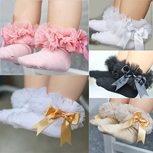 ONE'S Newborn Infant Baby Toddler Girls Princess Bowknot Lace Ruffle Frilly Trim Ankle Sock (0-2 Years, Black) by ONE'S (Image #6)