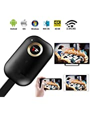 4K Wireless HDMI Display Dongle, 2,4G/5G WiFi Screen Cast Mirroring Adapter for HDTV Projector
