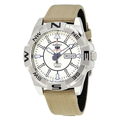 Seiko-5-Sports-SRPA67-Mens-Explorer-Military-Fabric-Band-Beige-Dial-Automatic-Watch