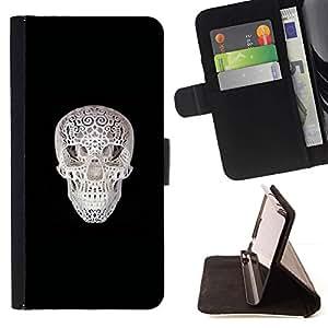 Momo Phone Case / Flip Funda de Cuero Case Cover - Cráneo Impreso;;;;;;;; - Samsung Galaxy J3 GSM-J300