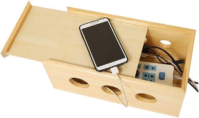 YOSPOSS KZ5327-W976 Caja organizadora de cables de madera, caja ...