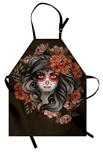 Ambesonne Day of The Dead Apron, Spanish Woman with Festive Calavera Makeup Art and Flower Blooms, Unisex Kitchen Bib Apron with Adjustable Neck for Cooking Baking Gardening, Green Salmon
