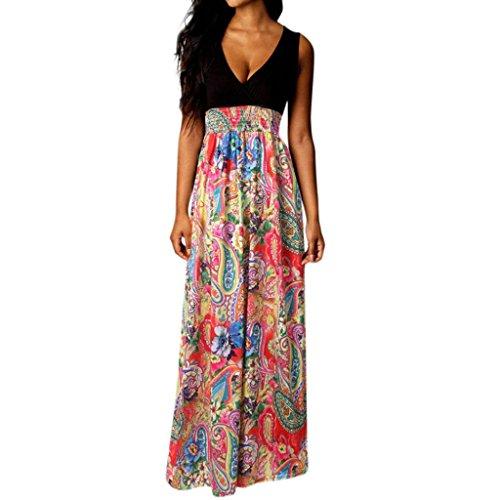 Femme Noir sans Taille Longue V Robe t de Col Robe Haute Manches S Imprimer Floral Plage 1AqxaS