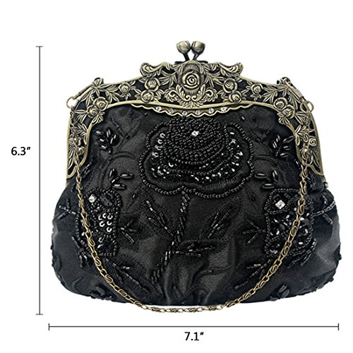 Beaded Kissing Handbag Womens Interior Satin Sequin Design Lock Evening Clutch Red Floral Vintage RXwwaqd