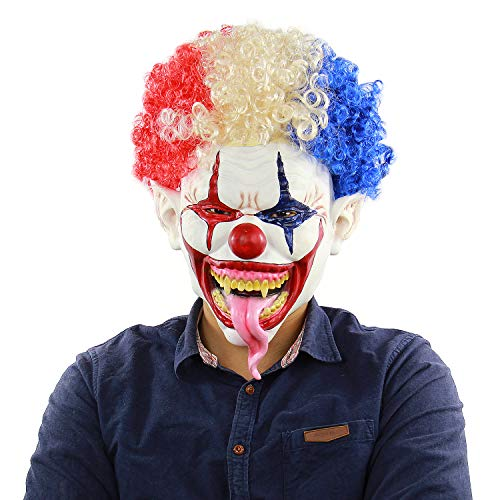 Horror Clown Scary Colored Hair Demon Joker Mask,Halloween Costume Party Masquerade/Birthday Parties,Carnival Decorations -