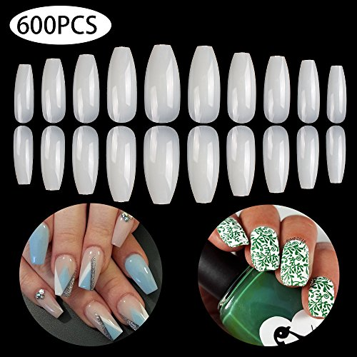 Coffin Nails 600PCS Fake Nails Long BTArtbox Ballerina Nails Full Cover Artificial Nails Natural 10 Sizes