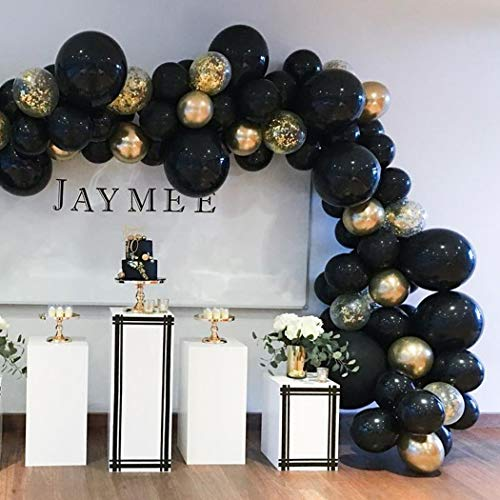 Beaumode DIY Black&Gold Balloon Garland Arch Kit 82pcs Balloons for Birthday Bachelorette Wedding Photo Booth Backdrop Bridal Shower Centerpiece Graduation Anniversary Party -