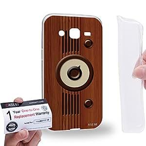 Case88 [Samsung Galaxy J2] Gel TPU Carcasa/Funda & Tarjeta de garantía - Art Design Wood Sound Machine Vintage Radio Art0801