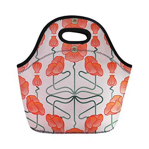 Semtomn Neoprene Lunch Tote Bag Red Poppy Poppies Inspired By Nouveau Blossom Floral Flower Reusable Cooler Bags Insulated Thermal Picnic Handbag for Travel,School,Outdoors, Work
