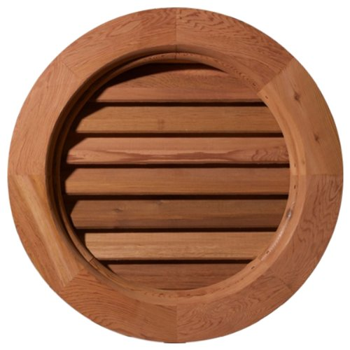 Ekena Millwork GVWRO14X1401SFUWR Unfinished, Functional, Smooth Western Red Cedar with 1-Inch x 4-Inch Flat Trim Round Gable Vent 19-Inch x 19-Inch Frame Size, 14-Inch x 14-Inch (Western Red Cedar Log)